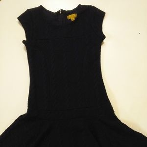 Nicole Miller navy blue textured girl dress Large